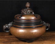 Xuande Marked Old Chinese Purple Bronze Pinch Silver Wire Furnace Incense Burner