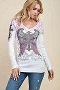 Vocal Womens Crystal White Pink Cross Angel Wings Whipstitch Shirt Usa S M