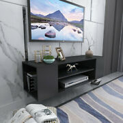 Tv Stand Floating Shelf Black Wall Mounted Storage Cabinet Console Entertainment