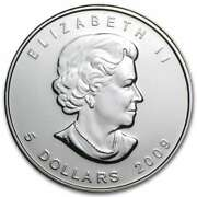 Canada 5 Dollars 2009 Maple Leaf Silver 1oz Coin .9999 New In Capsule