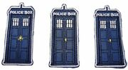 Doctor Who Tardis Police Box 3 Tall Embroidered Iron On Patch Set Of 3 Patches