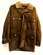 Chocolate Brown Shearling Jacket Coat Size 46 Italy