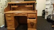 Oak Crest Locking Roll Top Desk, Golden Oak Finish With Chair And 2 Drawer File