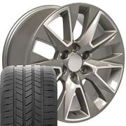 20 Inch Silver Machined 5919 Rims And Goodyear Tires Set Fits Tahoe Silverado 20x9