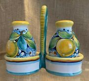 Deruta Italy Gialetti Giulio Hand Painted Salt And Pepper Shakers In Caddy Lemons