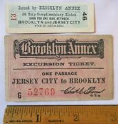2 Rare 1890s Brooklyn Annex New York Jersey City Nyc Ferry Tickets Excursion