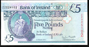 2013 Zz Bank Of Ireland Belfast Andpound5 Five Pound Banknotes Replacement Notes Unc
