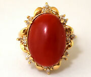 Antique Victorian 14k Solid Gold, Diamonds And Large Natural Undyed Coral Ring