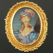 Solid 18k Yellow Gold Scrollwork And Hand Painted Portrait Estate Pin, Brooch