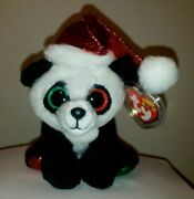 Ty Beanie Boos - Pandy Claus The Panda Bear 6 Inch Claireand039s Exclusive Nwtand039s