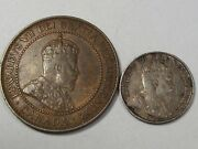 2 Edward Vii Canadian Coins 1909 Penny And 1907 5¢ Cent. 39