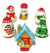 Cabin Russian Christmas Wooden Ornament Set Pack Of 6