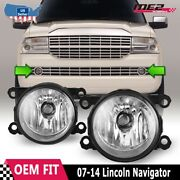 Fits 07-14 Lincoln Navigator Pair Factory Bumper Replacement Fog Lights Clear