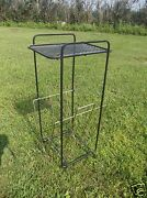 Metal Newspaper, Magazine Rack, Plant Stand, Phone Or Ash Tray Holder On Top
