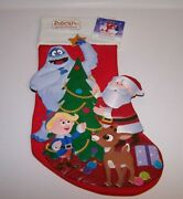 Rudolph The Rednosed Reindeer 3-d Christmas Holiday Stocking 17 L New 1992