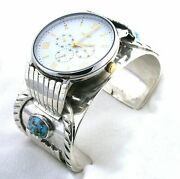 Heavy Vintage Navajo Sterling Turquoise Timex Watch 6 1/8 X 1 3/5 Inch T3a23