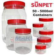 Plastic Storage Containers With Screw Top Lids Food Canisters Sun Pet Jars Large