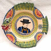 Quimper Henriot Fish Shaped Little Breton Plate Corbeille Hand Painted Faience