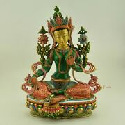 Finely Hand Painted 13.5 Green Tara / Drolma Copper Statue From Patan Nepal.