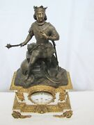 Antique 19th Century French At Viking War Gilt Bronze Statue Marble Clock