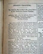 Outlaw Jesse James Interview W/ His Wife Re. Death 1882 St. Louis Mo Newspaper