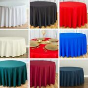 10/15 Bulk Sale 120 In. Round Poly Tablecloths Wedding Events Holiday 8 Colors