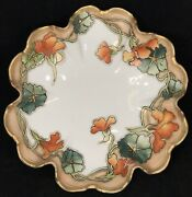 Antique Nippon Gold Moriage Hand Painted Floral Ruffle Footed Bowl Dish Signed E