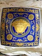 Versace Candy Plate Tray Dish Medusa Blue 7andrdquo Rosenthal New Christmas Gift Sale
