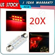 20x Red 42mm Bulbs 8-smd-5050 Car Interior Festoon Led Lights Lamps For Dome Map