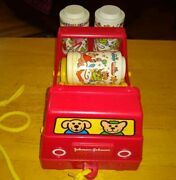 Vintage Johnson And Johnson Rhythm Roller Red Truck 3 Rattle Rollers Plastic 1982