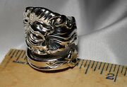 Wallace 26 Iris Vintage Floral Sterling Silver Spoon Ring Free Shipping