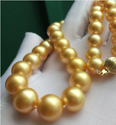 Gorgeous 12-15mm South Sea Gold Pearl Necklace 18inch 14k