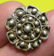 Awesome Old Medieval Spanish Colonial Royal Charro Silver Button 15-16 Th C
