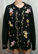 Bp Designs Womans Black Ugly Christmas Sweater With Victorian Stockings Size 2x