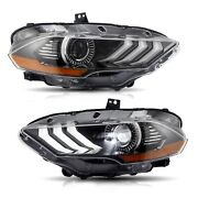 Custom Full Led Sequential Projector Headlights Dual Beam For 2018-2020 Mustang