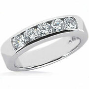 5 Round Diamond Band Wedding Ring Channel Set 1.25 Ct 18k F-g Color Si1 Clarity