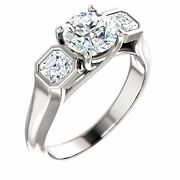 1.27 Carat Total Round And Asscher Cut Diamond Engagement 14k White Gold Ring