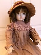 Vintage 1970's Sankyo Porcelain Doll - Brown Curly Hair Hat And Chair
