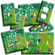 Gustav Klimt Colorful Flower Field Painting Light Switch Outlet Wall Plate Decor