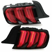 Custom Red Fiber Optic Full Led Tail Lights W/ Sequential For 15-20 Mustang