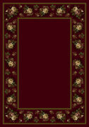 Milliken Red Contemporary Bushes Bordered Floral Lace Cranberry Ii