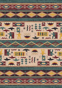 Milliken Green Southwestern Banded Rows Area Rug Striped Wide Ruins Hazy Forest