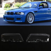 Pair Front Car Clear Headlight Cover Lens For 99-03 Bmw E46 2dr M3 2001-06 Lhandrh