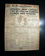 Allied Invasion Of Italy Operation Avalanche Patton 1943 World War Ii Newspaper