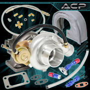 T3 T4 Turbo Turbocharge V-band + Oil Drain Feed Line + Heat Shield Cover Silver
