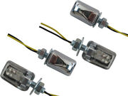 Motorbike Micro Led Indicators Turn Signals Cafe Racer Project Chrome - 2 Pairs