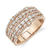 14k Rose Gold Womens Baguette Diamond Ring Multi Row Band Cocktail Size 7 Round