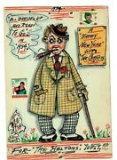 Hollywood Star Walter Catlett Signed Art Postcard Happy New Year Boys Town Stamp