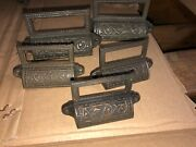 C1880 5 Matching Authentic Cast Iron Apothecary Bin Hardware Ornate Design 4.25andrdquo
