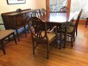 Rare Antique Duncan Phyfe Buffet Dining Table And Chairs - Prof. Refurbished